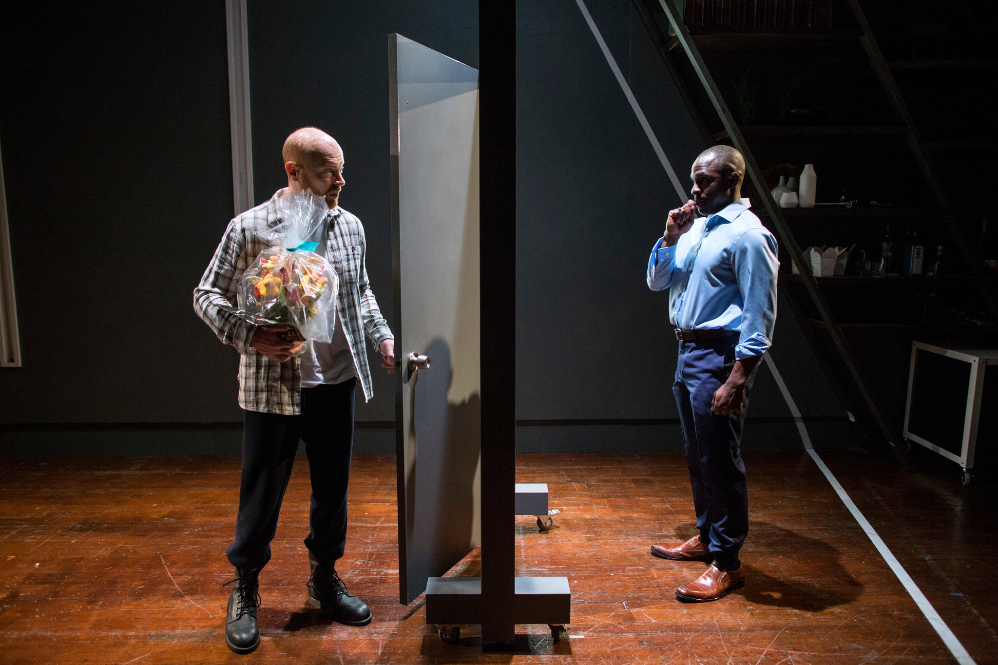 "Jeff Biehl, left, and Gbenga Akinnagbe in ""Fulfillment."" Brian Harkin for The New York Times"